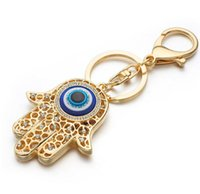 Wholesale Lucky Star Pendant Wholesale - DHL free big eyes Lucky Charm Amulet Hamsa Fatima Hand Evil Eye Keychains Purse Bag Buckle Pendant For Car Keyrings key chains holder women