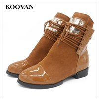 Wholesale Genuine Cow Leather Pieces - Koovan Fashion Ankle Boots 2017 Autumn Chunky Heel Sexy Metal Pieces Round Toes Women Shoes Big Size 35-43 Snow Boots W009