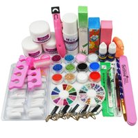 Wholesale Pink Clear Acrylic Nails - Wholesale- Acrylic Nail Kit Clear Pink White Acrylic Powder Liquid Brush Nail Kit Glitter Clipper File Glue Nail Art Tips Set Kit