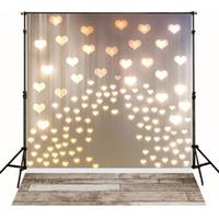 Wholesale Indoor Vinyl Backdrop Computer - Glitter Love Heart Lights Backdrop Vinyl Dark Wood Texture Floor Photography Backdrops Newborn Baby Indoor Studio Photo Booth Props