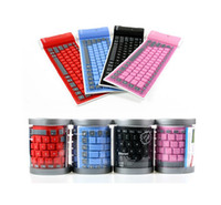 Wholesale Mobile Bluetooth Wireless Keyboard - Bluetooth Wireless Soft Silicone Keyboard Foldable Waterproof Universal Portable for ipad iphone Samsung Smart mobile phone