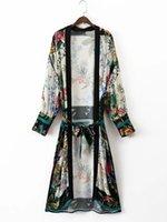 Wholesale Euro Style Blouse - 2017 Euro Style Flower Print Sashes Long Kimono Cardigan Thin Sun Protective Patchwork Shawl Summer Casual Blouse Shirts Tops