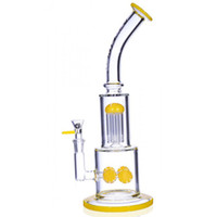 Wholesale Crystal Arms - New Yellow Glass Bongs CRYSTAL GLASS 13 inch QUAD GEAR PERC TO 6 ARM TREE PERC SUN BURST