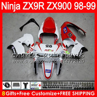 Wholesale Zx9r White Red Fairings - 8Gifts 23Colors For KAWASAKI NINJA ZX 9 R ZX9R 98 99 00 01 900CC red white 48HM7 ZX 9R ZX900 ZX900C ZX-9R 1998 1999 2000 2001 Fairing kit