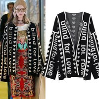 Wholesale heart sweater cardigan - Free Shipping 2017 Vintage Black Letter Heart Jacquard Women's Cardigans Brand Same Style Women's Sweaters DH0163
