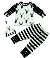 Wholesale Childrens Animal Caps - 2017 ins Boys Girls Baby Childrens Clothing Sets Fawn Print T-shirts Pants Cap Spring Autumn Cotton Toddler Kids Boutique Clothes Outfits