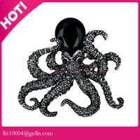Wholesale Octopus Brooches - 50pcs lot free shipping zinc alloy hot sale high quality custom make color black octopus brooch rhinestone octopus brooch pin
