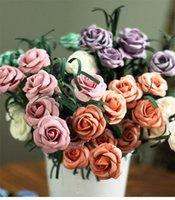Wholesale Artificial Diamond Flowers - 2017 Party decoration creative diamond rose 5 head Festive Supplies artificial flower bouquet home Decorative high quality flowers wholesale