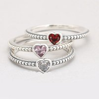 Wholesale Real Silver Ring Red - Real 925 Sterling Silver 3 Colors One Love Ring For Fashion Women Gift Jewelry