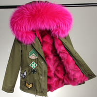 Wholesale Embroidery Fur Coat - Embroidery Jacket Mrs short furs coats hooded with real raccoon collar real fox fur Liner Detachable mr&mrs same style