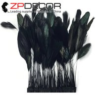 Wholesale Wholesale Coque Tail Feathers - 4-6 Inch Gold Manufacturer ZPDECOR Factory 10yards lot Top Quality Dyed Black Stripped Rooster Coque Tail Feathers Trim