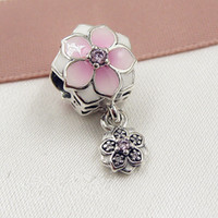 2017 Spring 925 Sterling Silver Magnolia Bloom Dangle Charm Bead with Pink CZ Fits European Pandora Jewelry Bracelets