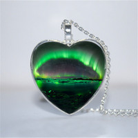 Wholesale Glass Plate Pendant Light - 10pcs lot Northern Lights Heart Pendant, Northern Lights necklace Glass Photo Cabochon Necklace