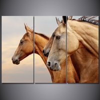 Discount three horse painting - 3 Pcs Set Framed HD Printed Animal Brown Horse Picture Wall Art Canvas Print Decor Poster Canvas Modern Oil Painting