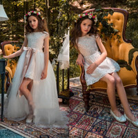 Wholesale Tulle Overlay Wedding Dresses - Flower Girl Dresses For Wedding Applique Square Neck Cap Sleeve Girls Removable Overlay Party Wears Floor Length Pageant Ball Gowns