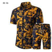 conjuntos de roupas para homem venda por atacado-Homens Camisas + Shorts Set New Verão Impresso Ocasional Camisa Havaiana Homme Curto Masculino Impressão Vestido Terno Conjuntos Plus Size