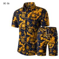 robe beige taille plus achat en gros de-Hommes Chemises + Shorts Set New Summer Casual Imprimé Hawaïen Chemise Homme Court Mâle Impression Robe Costume Ensembles Plus La Taille