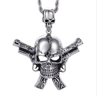 Wholesale silver biker necklace - 2017 New Men's Costume Accessory Stainless Steel High Quality Gun&Skull Skeleton Cool Pendant Necklace Punk Gothic Biker Jewelry