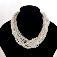 Wholesale Elegant Chunky Necklaces - Elegant High Quality Multi-Layer Pearl Choker Necklaces Chunky Statement Jewelry Faux Pearl Collar Necklaces & Pendants for Women 9262