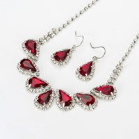Wholesale necklace sparkling earrings - The bride adorn article Women Sparkling Rhinestone Crystal Necklace Earrings Set Charm Wedding Bridal Jewelry Set 2016 charms jewelry