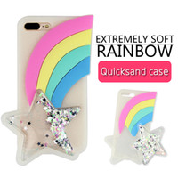 Wholesale Silicone Case Iphone Rainbow - For iphone 7 case 3D Cartoon Rainbow Cases Soft Silicone Quicksand Gel Case for iphone 6 6s 7 plus iphone 8