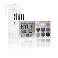 Wholesale Brush Bundle - Kylie Holiday Limited Edition Eye Cosmetic Bundle Collectios Sale Kyshadow Palette+Eye Brush Set 5pc Synthetic Fiber Makeup Brushes Free DHL