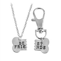 Wholesale Tin Tags Wholesale - 2pcs set BEST FRIENDS Dog Bone BFF Pendant Necklaces & Keychain Key Chain Keyring Gold Silver Tag Gift for friends wholesale
