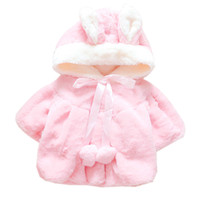 Wholesale Ear Fur Coats - Girls Winter Fur Coat Bunny Ear Hoody and Pom Decorated Winter Outwear for Children Boutique Kids Clothes