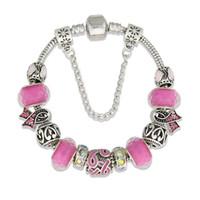 brustkrebs zubehör großhandel-Frauen Armbänder Breast Cancer Awareness Pink Ribbon Strass europäischen Perlen Charme Armbänder Armreifen Für Frauen, die Handgemachten Schmuck Zubehör