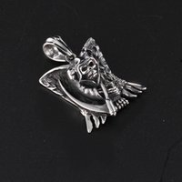 Wholesale Winged Death - Punk Design Cool Gifts Titanium steel casting god of death wing skull pendant necklace for Men Jewelry