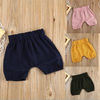 Wholesale Boys Black Trousers - 2018 Fashion Summer Baby Boy Girl Kids Toddler Bloomer Cotton Solid color Elastic Sandy beach Shorts Bottoms Printed trousers Harem Pants 6-