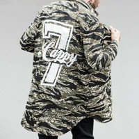 Wholesale hem jacket - Number Camouflage Shirts Mens Multicam Army Combat Long Sleeve Elongated Shirt Curved Hem Longline Camo Shirts Jacket