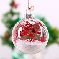 Wholesale Red Glass Christmas Tree - Handmade Glass Ball Holiday Decoration Christmas Tree Pendant  red star string white foam  Party event wedding decor8cm freeship