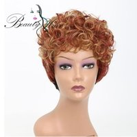 Wholesale Red Hair Wigs Pieces - Synthetic Short Wigs for Black Women Blonde and Red Curly Hair 6 inch 100g 1 Piece a lot Only