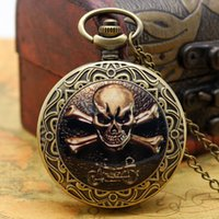 Wholesale Gothic Pocket Watch - Wholesale-Gothic Skull Style Pocket Watch With Necklace Chain Free Shipping Best Gift For Boys Men