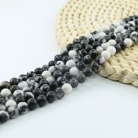 jaspe preto venda por atacado-Gemstone rodada Preto Branco Jasper Semi Precious Stone Beads 4/6/8/10mm 15 polegada Strand Por Conjunto Para Fazer Jóias L0583 #