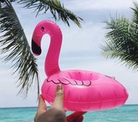 Wholesale pink flamingo party - New Pink Mini Flamingo Floating Inflatable Drink Can Call Phone Holder Swimming Bath Party Hawaiian Party Decorations