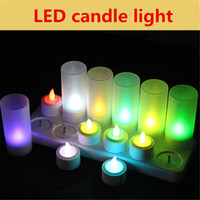 Wholesale 12 Led Rechargeable Candles - 12 PCS LED Candle Tea Light Flameless Rechargeable candle Remote Control Multi-Color Light For Home Party Wedding