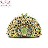 Wholesale Dark Pink Handbags Evening - Wholesale-Noble Lady Luxury Crystal Clutches Party Handbag Peacock Shape Women Wedding Clutch Evening Bag Green Gold Silver Pink Wholesale