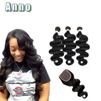 Wholesale Cheap Body Wave Weave - Grade 7a Brazilian Virgin Hair With Closure Cheap Brazilian Human Hair Weave 3 Bundles Brazilian Body Wave With Lace Closure