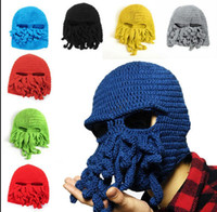 Wholesale Knitted Octopus Hat - Wool animal Octopus Hat Adult Funny Knit Beanie Hat Cap Winter Wind Ski Face Head Mask Beanie hat KKA2790