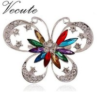 Wholesale Brooch Swarovski - European Popular Colorful Diamante Silver plated Crystal made with Swarovski Elements Butterfly Brooch for Women Rhinestone Jewelry