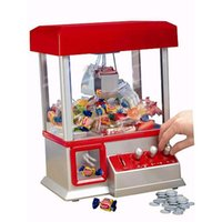 Wholesale arcade lights - [Funny] The Electronic Claw Game toy grab win candy gum and small toys console light & music Put in the COINS candy arcade gift