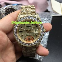 Wholesale Watch Hip Hop - Full iced out gold case 43mm diamonds watches hip hop rappers gold automatic watch men's wristwatche