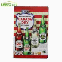 Wholesale Canada Dry Beverages Vintage Metal Plate Decor Tin Signs Bar Pub Cafe Home Art Metal Sign Garage Painting Plaque 20170408