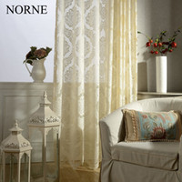 Wholesale NORNE Modern Tulle Window Curtains For Living Room The Bedroom The Kitchen Cortina rideaux Vienna Laces Fabric Sheer curtains Blinds Drapes