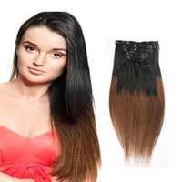 Wholesale Sexy Clips Woman - Resika Sexy Long Silky Soft Straight Women Fashion Clip In On Human Hair Extensions 10pcs set 100g-220g Ombre Color Dyeable Fast shipping