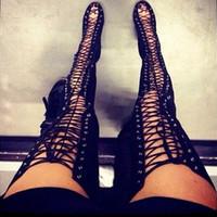 talla 42 botas altas hasta el muslo negro al por mayor-Sexy hasta el muslo Recortes altos Cordones Botas de verano Sandalias de gladiador Gamuza negra Sobre la rodilla Tacones altos Zapatos de mujer más el tamaño 42