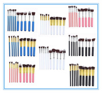 Wholesale Top Hair Tools Wholesale - 10pcs Kabuki Makeup Brushes Set Tools Cosmetic Facial Makeup Brush Tools With Nylon Hair Makeup Top Quality