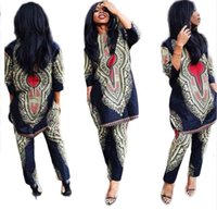Wholesale Dress Women Pants Sets - Summer Traditional African Clothing 2 Piece Set Women Africaine Print Dashiki Dress African Clothes indian bazin riche femmeS963